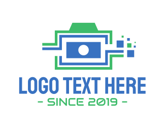 Graphics - Pixel Camera Outline logo design