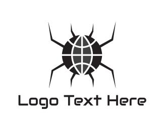 Gothic - Black Spider Globe logo design