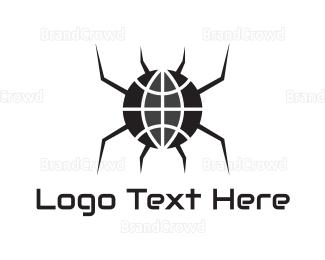 Globe - Black Spider Globe logo design
