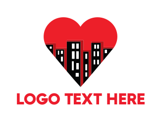 Red Building - Buildings & Heart logo design