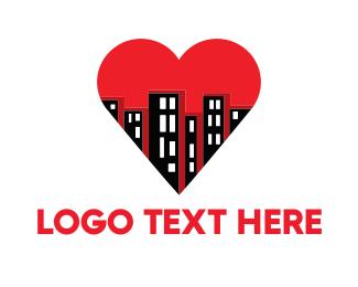 Urban - Buildings & Heart logo design