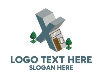 House - Modern Building Letter X logo design