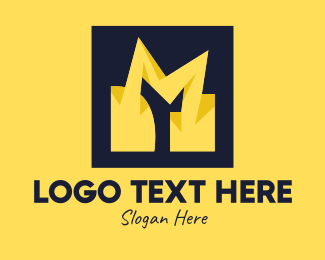 Voltaic - Yellow Bolt Letter M logo design