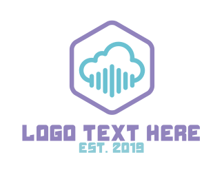 Modern Cloud Hexagon Badge Logo