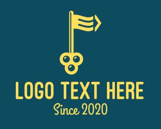 Building Maintenance - Yellow Flag Key  logo design