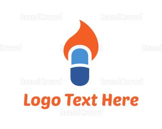 Pharmaceutic - Fire Capsule logo design