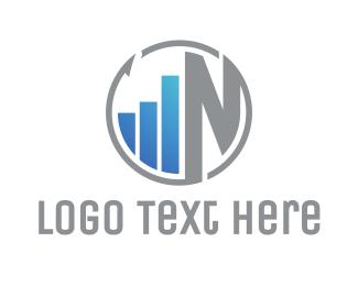 Wealth - Round Statistics N logo design