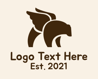 Grizzly - Winged Grizzly Bear logo design