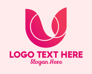 Pink Brand Letter U  Logo