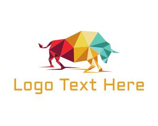 Crystal - Origami Bull logo design