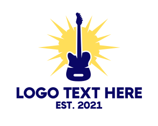 Guitar Lesson - Sunny Electric Guitar logo design