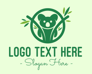 Jungle Animal - Green Forest Koala logo design