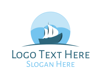 Ship - Cloud  Sailboat Ship logo design
