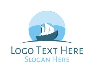 Ship - Cloud  Sailboat Ship logo design