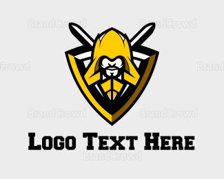 Attack - Yellow Warrior Emblem logo design