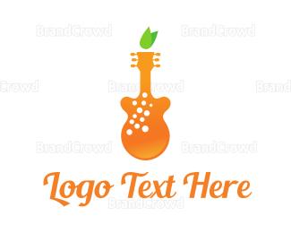 Smoothie - Orange Juice Music logo design