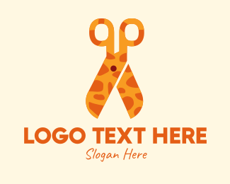 Pet Groomer - Giraffe Scissors  logo design