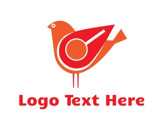 Red Bird - Red Search Bird logo design