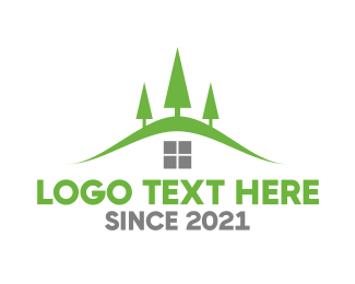 Green Mountain - Mountain Tree House logo design