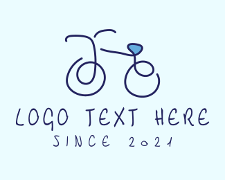 Ride - Blue Bicycle Bike  logo design