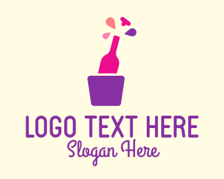 Alcohol Delivery - Champagne Bottle Party logo design