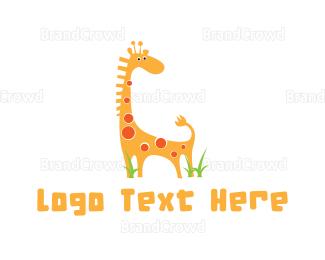 Vertical - Cute Giraffe logo design