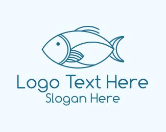 Sashimi - Blue Fish Monoline logo design