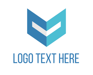 Note - Blue Letter V logo design