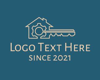 Home Property - Bronze House Key Gear logo design