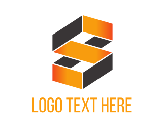 3d - Orange Geometric Loop logo design