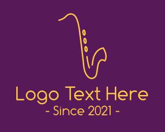 Classical Music - Gold Saxophone Music logo design
