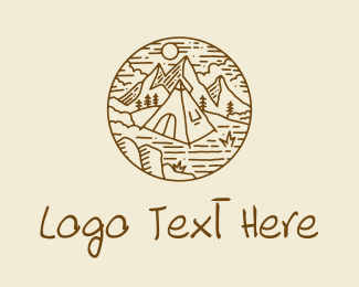Camping Site - Hiker Camp Tent logo design