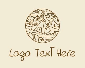 Hut - Hiker Camp Tent logo design