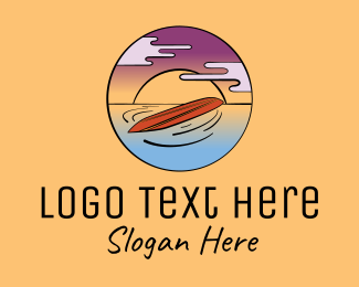 Clouds - Sunset Ocean Surfing Surfboard logo design