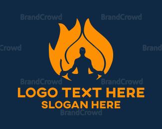 Fireman - Fire & Yoga logo design