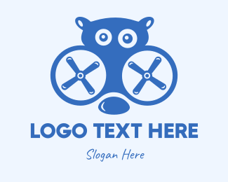 Large - Blue Hippo Drone logo design