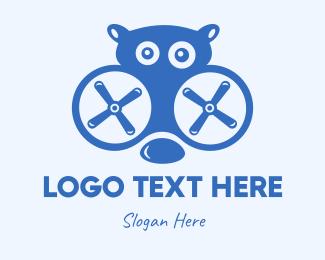 Quadcopter - Blue Hippo Drone logo design
