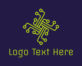 Technological - Gren Circuit Cross logo design