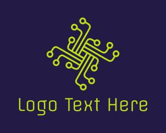 Hacker - Gren Circuit Cross logo design