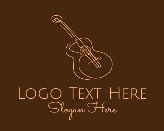 Acoustic Guitar - Line Art Brown Guitar  logo design