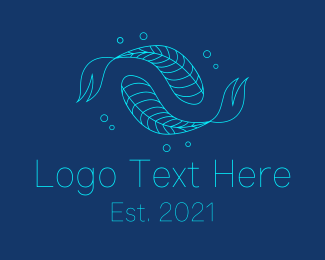 Astrological Signs - Blue Pisces Fish Swimming  logo design