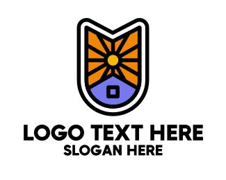Dry - Sun House Badge logo design