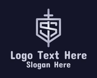 S - Letter S Sword Shield logo design