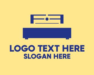 Accommodation - Blue Bed logo design