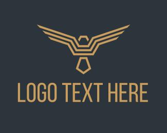 Security - Golden Geometric Bird logo design