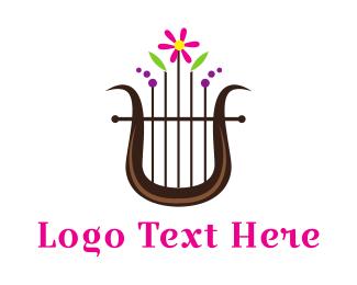 Harp - Floral Harp logo design