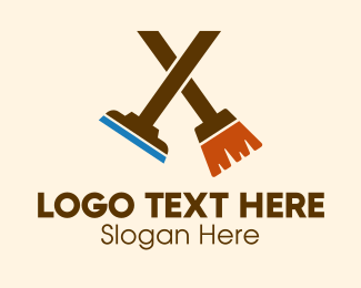 Bucket - Broom Squeegee Cleaning Company  logo design