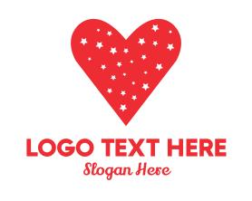 Date - Star Red Love Heart logo design