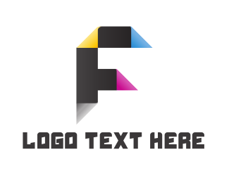Media Agency - Printing Paper Letter F logo design