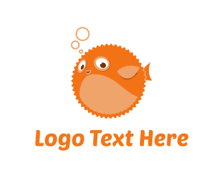 Inflatable - Orange Blowfish logo design